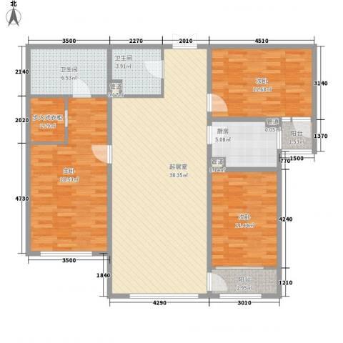 天鹅湖小镇东区3室0厅2卫1厨137.00㎡户型图