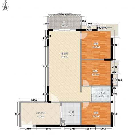 富力银禧花园3室1厅1卫1厨110.00㎡户型图