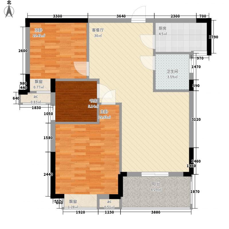 襄投月亮湾1.36㎡5#楼、6#楼南向F2户型3室2厅1卫1厨