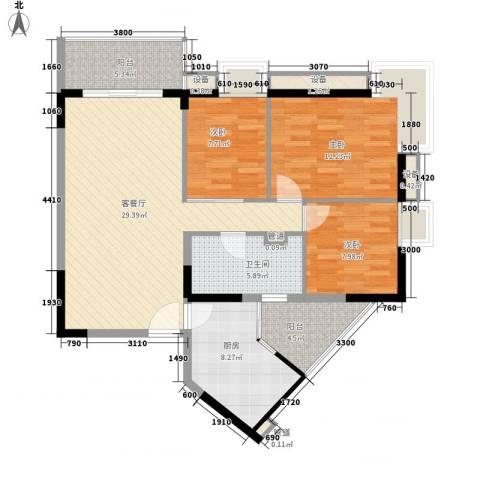 金丰大厦3室1厅1卫1厨108.00㎡户型图