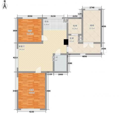 汇景星城2室1厅1卫0厨99.00㎡户型图