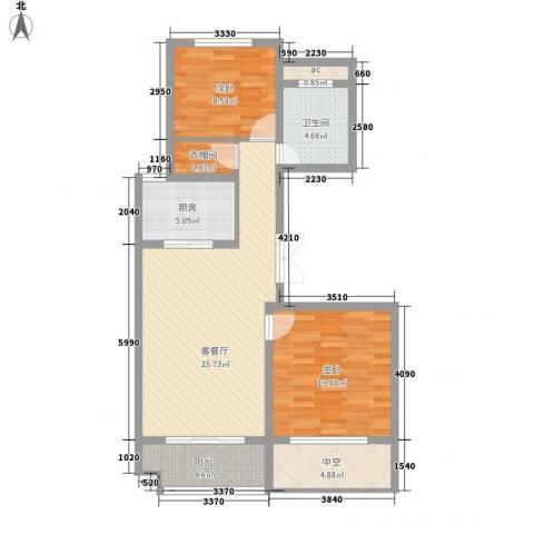 九龙华府2室1厅1卫1厨70.09㎡户型图