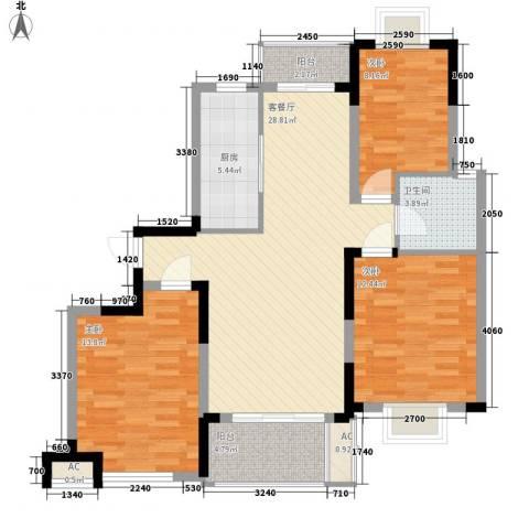 富建洲际逸品3室1厅1卫1厨116.00㎡户型图