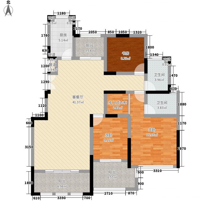 银河湾132.00㎡一期高层B4户型3室2厅2卫1厨