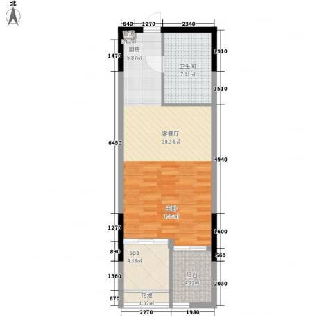 国航帕尔美纳1厅1卫0厨67.00㎡户型图