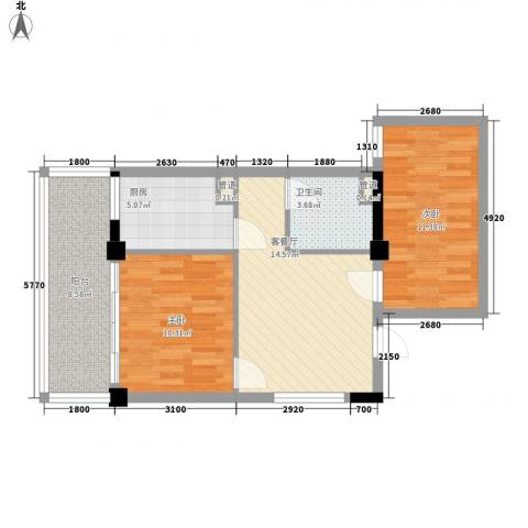 阳光海岸2室1厅1卫1厨78.00㎡户型图
