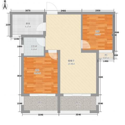 绿地滨湖国际花都2室1厅1卫1厨81.00㎡户型图