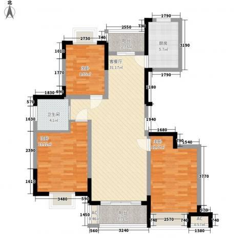 富建洲际逸品3室1厅1卫1厨82.97㎡户型图