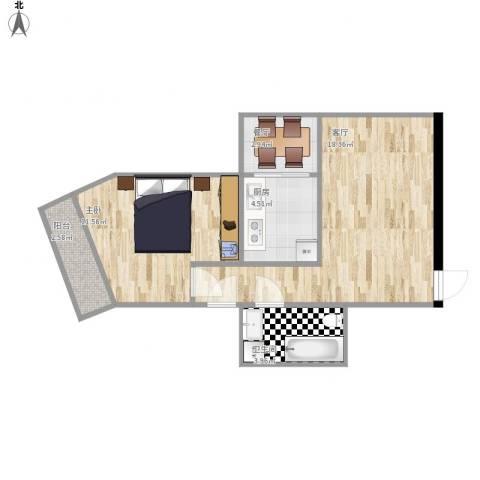 惠新西街33号院1室2厅1卫1厨61.00㎡户型图
