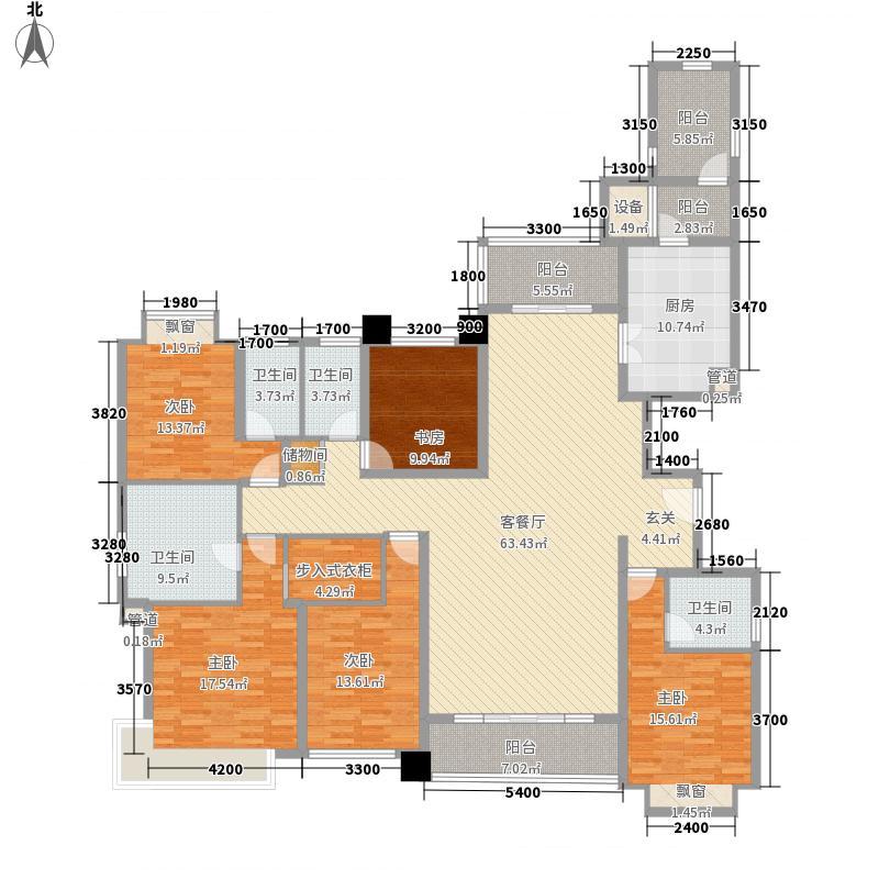 仁恒滨海半岛234.37㎡高层3栋E户型5室2厅4卫1厨