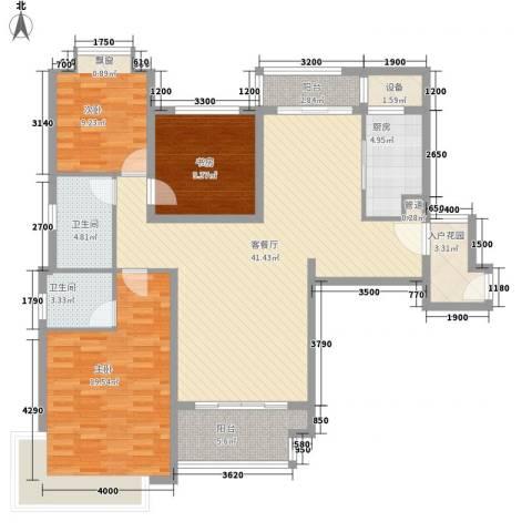 仁恒滨海半岛3室1厅2卫1厨106.29㎡户型图