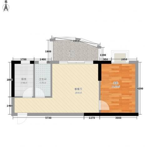 怡和园1室1厅1卫1厨61.00㎡户型图
