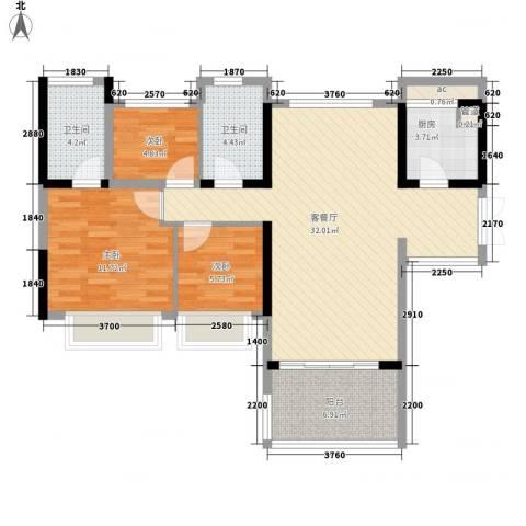 绿海名居3室1厅2卫1厨108.00㎡户型图
