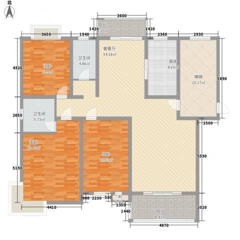 锦豪雍景园3室1厅2卫1厨220.00㎡户型图