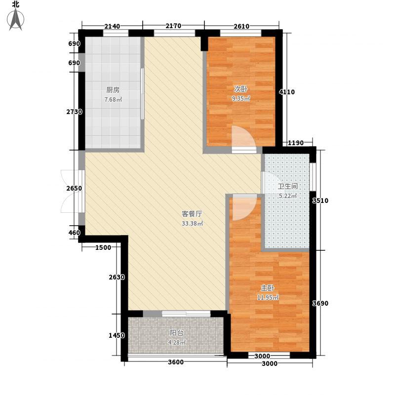 海尚明珠7#楼G户型2室2厅1卫1厨