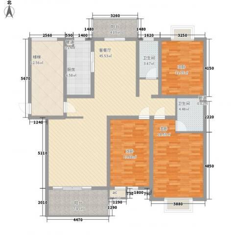 锦豪雍景园3室1厅2卫1厨185.00㎡户型图