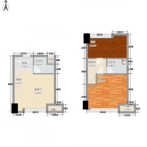 天启花园2室1厅2卫0厨95.00㎡户型图