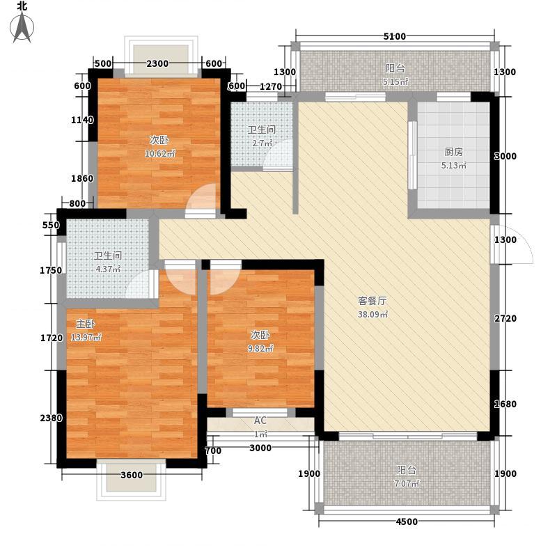 时代云龙城131.36㎡2栋03户型3室2厅2卫1厨