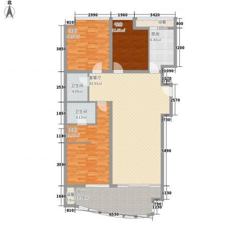 西港雅苑3室1厅2卫1厨171.00㎡户型图