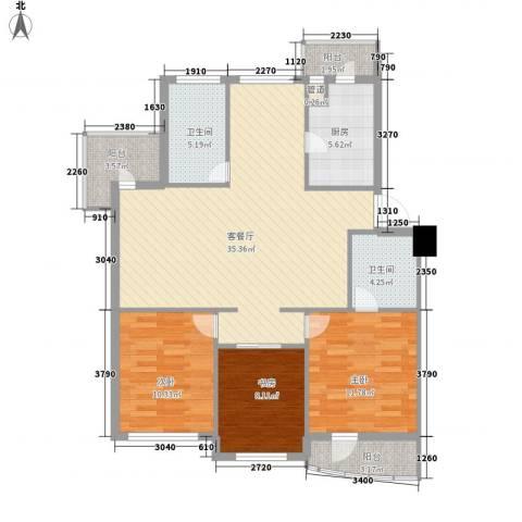 山水鑫苑3室1厅2卫1厨125.00㎡户型图