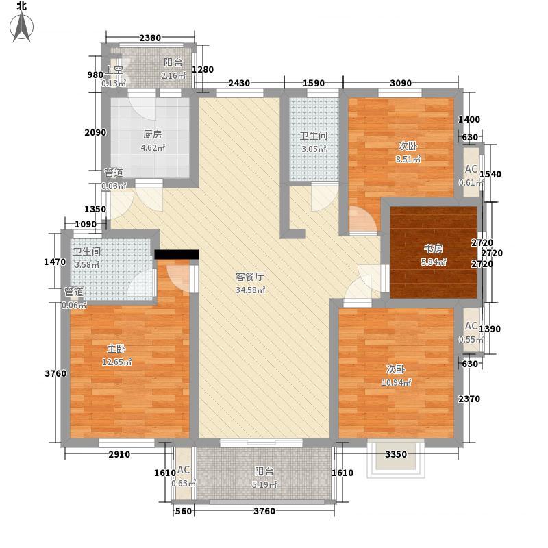 金汇康郡135.00㎡一期1号楼E1户型4室2厅2卫1厨