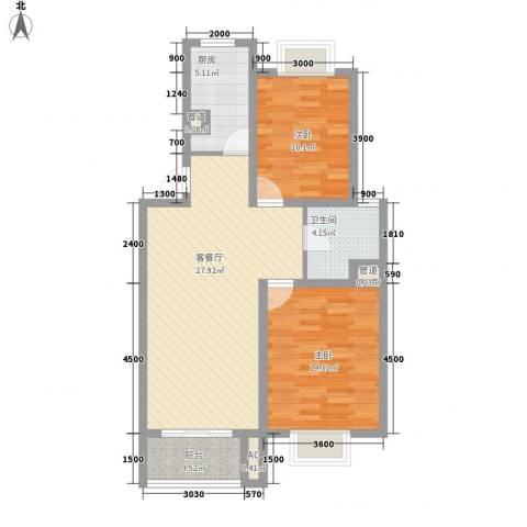 美兰湖颐景园别墅2室1厅1卫1厨86.00㎡户型图