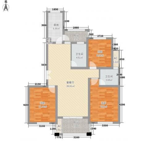 陆宇中央郡3室1厅2卫1厨102.40㎡户型图