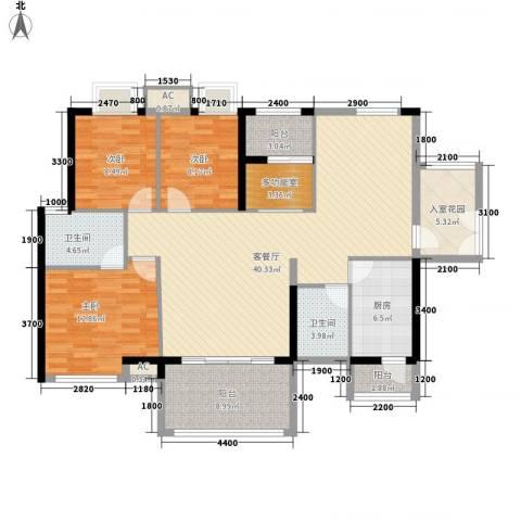 礼顿・金御海湾3室1厅2卫1厨155.00㎡户型图