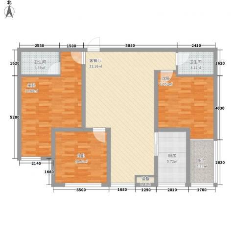 西港雅苑3室1厅2卫1厨127.00㎡户型图