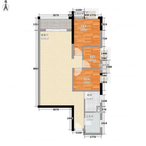 嘉逸花园宽派3室1厅1卫1厨92.00㎡户型图