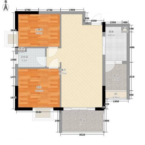 富豪山庄2室1厅1卫1厨84.00㎡户型图