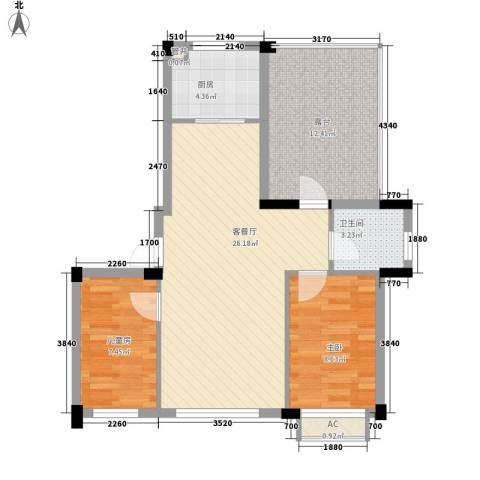 亿成花园2室1厅1卫1厨89.00㎡户型图