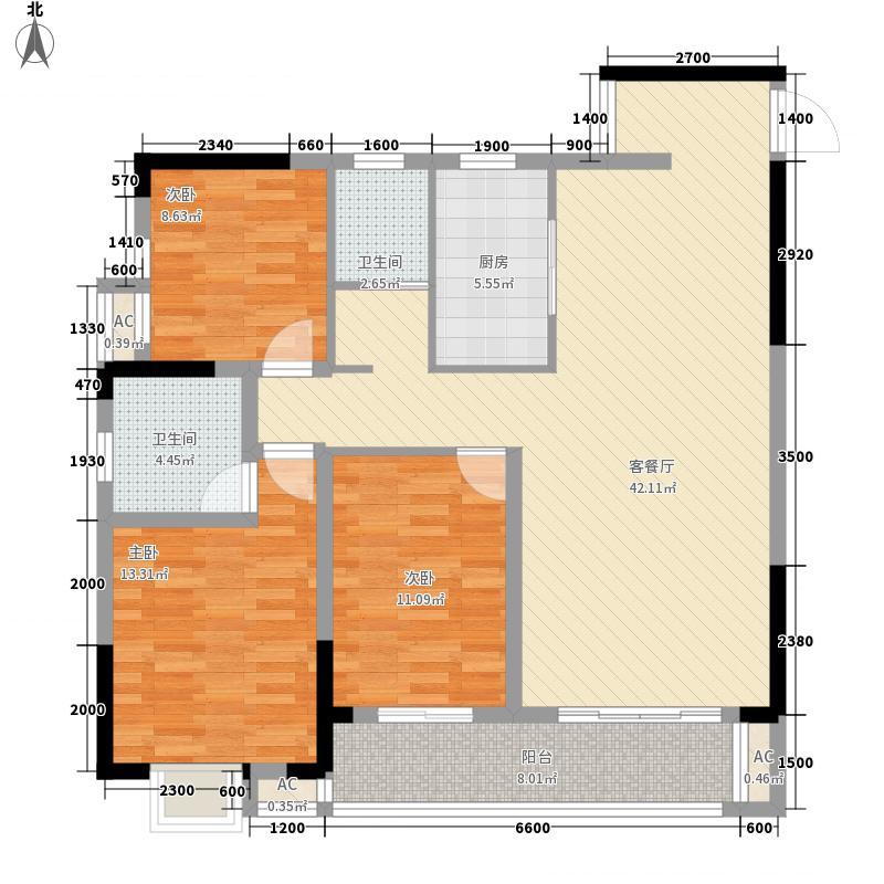 时代云龙城123.70㎡10栋04户型3室2厅2卫1厨