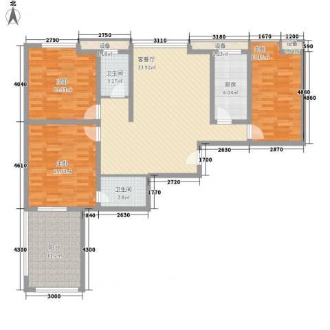西港雅苑3室1厅2卫1厨148.00㎡户型图