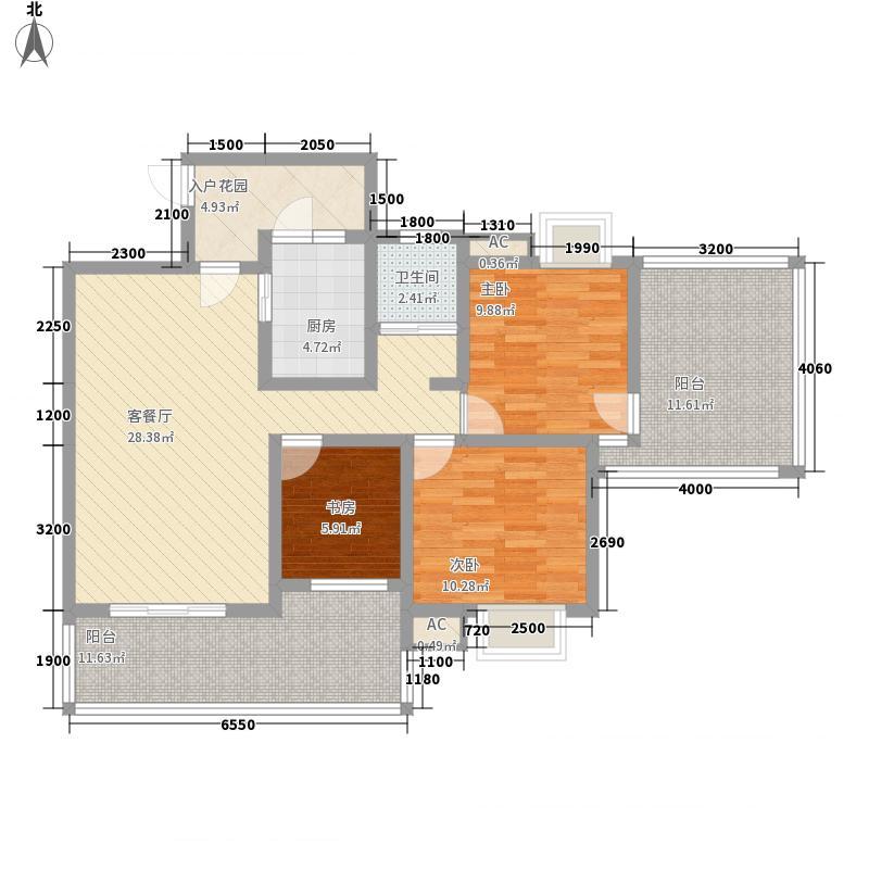 上霖东方101.01㎡4幢1户型3室2厅1卫1厨