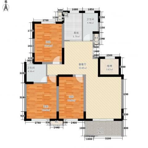 武夷水岸家园3室1厅2卫1厨124.00㎡户型图