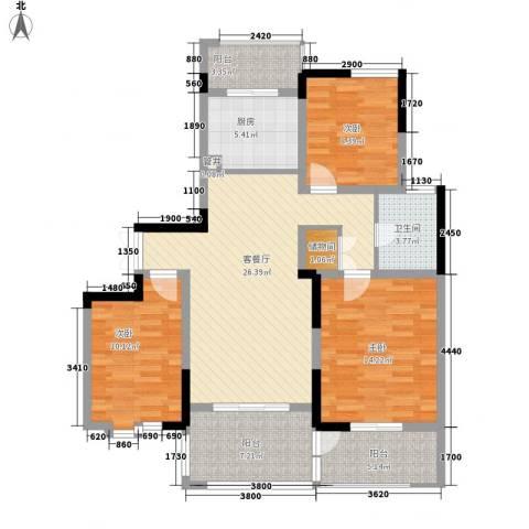 苏建名都城3室1厅1卫1厨124.00㎡户型图