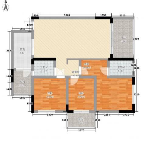 香草山二期3室1厅2卫1厨102.04㎡户型图