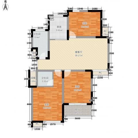 武夷水岸家园3室1厅2卫1厨122.00㎡户型图
