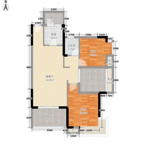 鼎峰品筑二期2室1厅1卫1厨88.00㎡户型图