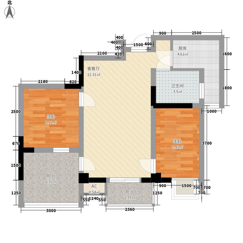 上霖东方72.13㎡1号楼3-24层1单元6号房(4-22偶数层)户型2室2厅1卫1厨