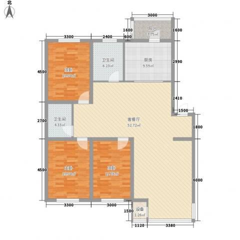 恒泰骏景3室1厅2卫1厨143.00㎡户型图