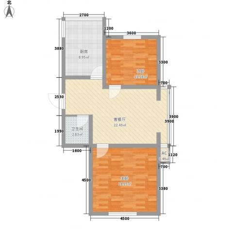 恒泰骏景2室1厅1卫1厨82.00㎡户型图