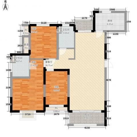 富建洲际逸品3室1厅2卫1厨138.00㎡户型图