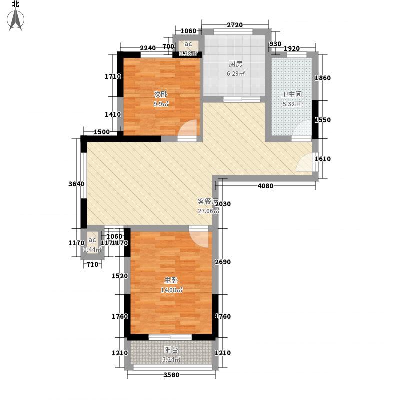 海世界1.31㎡c1户型2室2厅1卫1厨