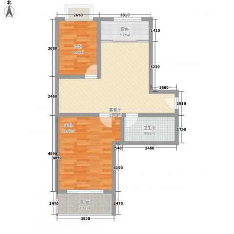 新乐城2室1厅1卫1厨87.00㎡户型图