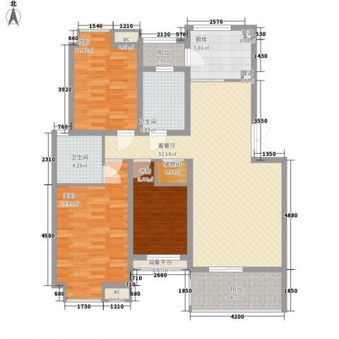 万科外国语学校宿舍3室1厅2卫1厨133.00㎡户型图