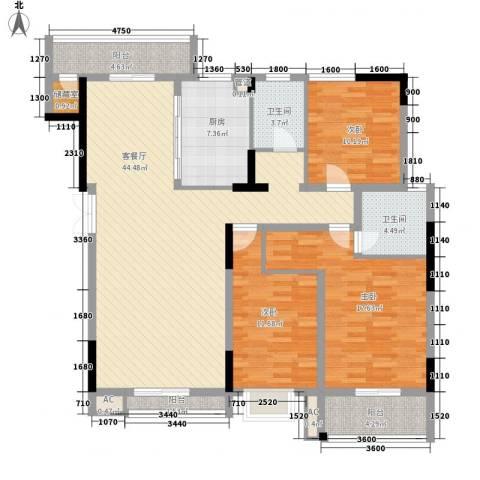 汇城上筑3室1厅2卫1厨129.42㎡户型图