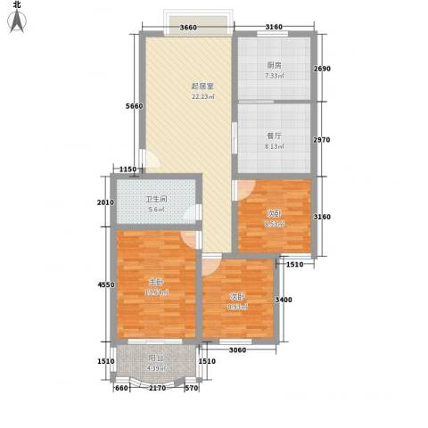 汇隆花园3室1厅1卫1厨114.00㎡户型图