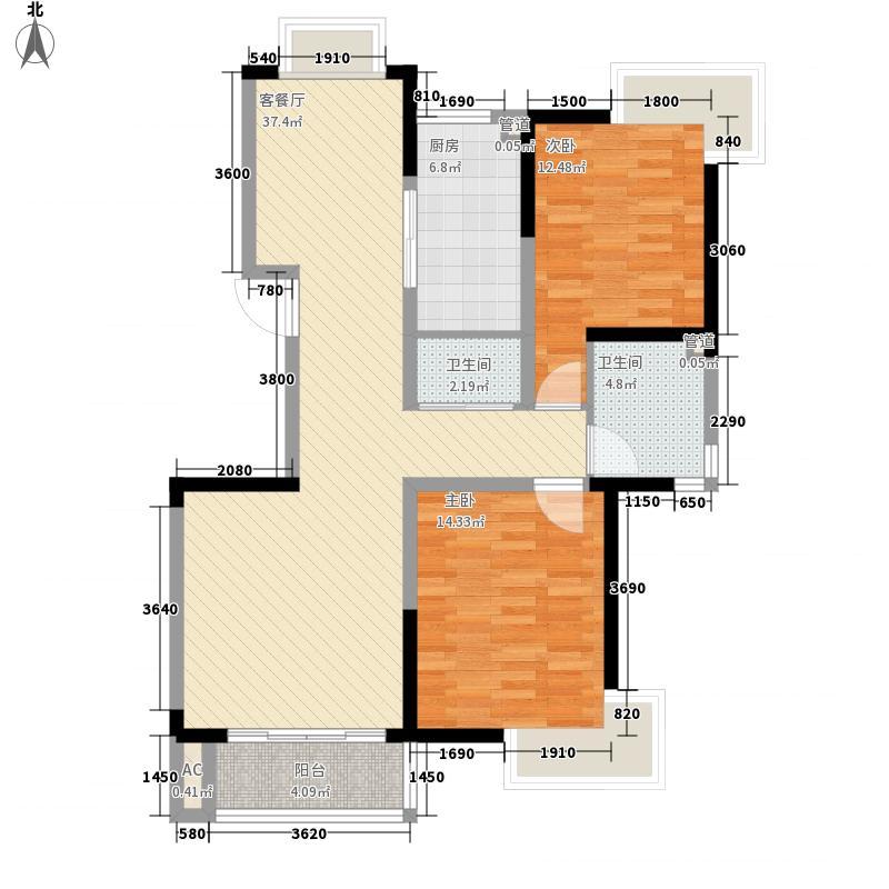 安宁庭院111.74㎡A2户型2室2厅2卫1厨